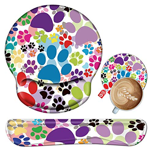 Keyboard Wrist Rest and Mouse Pad Wrist Support Set with Coaster, Ergonomic Gaming Mouse Pad Keyboard Wrist Cushion with Memory Foam & Non Slip Base for Computer Laptop Office-Dog Pawprint Multicolor