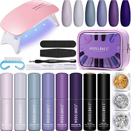 Modelones Gel Nail Kit with LED Nail Lamp - 6 Colors Purple Gray Series Gel Nail Polish Set, No Wipe...