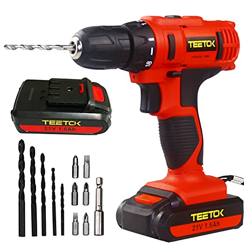 Cordless Drill with 2 Batteries 21V Cordless Drill Driver Li-ion Electric Screwdriver Drill Set Combi Set Powerful Rechargeable Lithium-Ion DIY Tool Set
