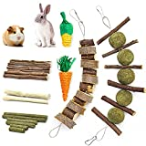 blu&ben Rabbit Chew Toys for Teeth Grinding,Rabbit Toys Natural Apple Wood Sticks with Timothy Hay Balls Cage Accessories for Bunny Chinchillas Guinea Pigs, Hamsters, Small Pets