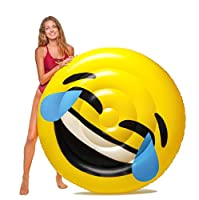 Image: Floatie Kings LOL Emoji Pool Float | Giant Premium Inflatable Raft | Take it it to the beach, river, lake or just relax in a pool!