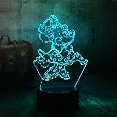 Luz de noche 3D dibujos animados hermoso vestido niña linda Minnie 7 color táctil control remoto resplandor gradiente humor luz de noche pequeña niño durmiendo regalo de cumpleaños de Navidad