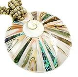 Concha redonda de abulón natural, concha de cono, colgante de ojo Shiva de 45,7 cm collar de...