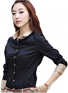DearAnna(ディアアンナ) リボンタイ付き 紺色ブラウス 長袖 袖折り返しボタン付き 上質 透けにくい生地 通年使用可 きれいめ オフィス シャツ レディース S M L XL