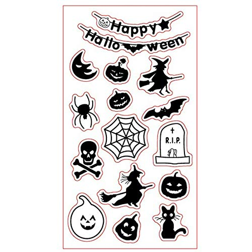 Happy Halloween Style Witch Pumpkin Spider Rubber Clear Stamp for Card Making Decoration and Scrapbooking