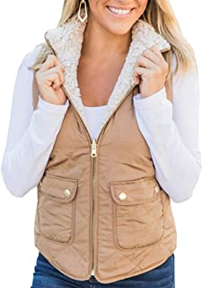 Ivay Womens Quilted Shearling Vest Faux Fur Sleeveless Jackets Lined Puffer Winter Coats Gilet