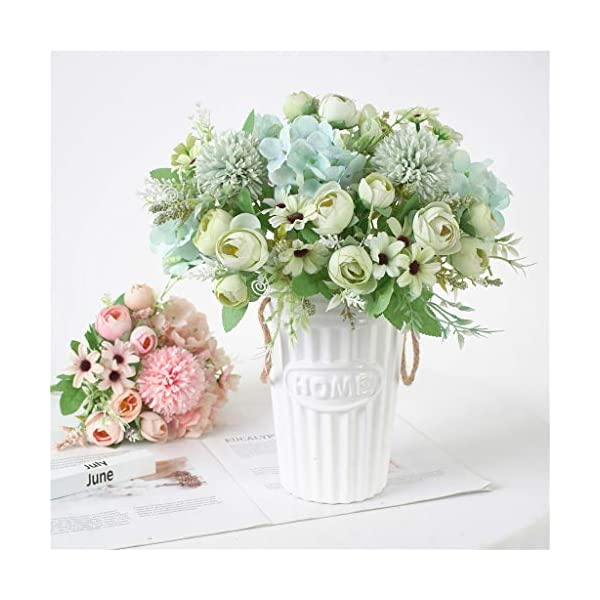 Hemgk Oyedens Artificial Flower Outdoor Beautiful Artificial Silk Fake Flowers Wedding Valentines Bouquet Bridal Decor in Vase Pots, for Home Decoration, Cemetery, Arrangements