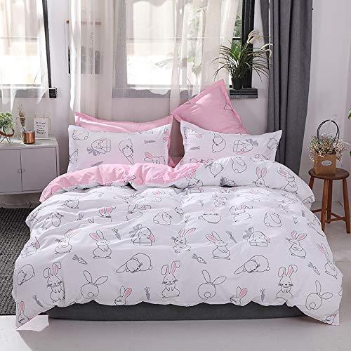 QWEASDZX Simple Soft Cotton Simple Four-Piece Quilt Cover Sheets Pillowcase Bed Four Sets Of Skin-Friendly Breathable Washable 1.2m