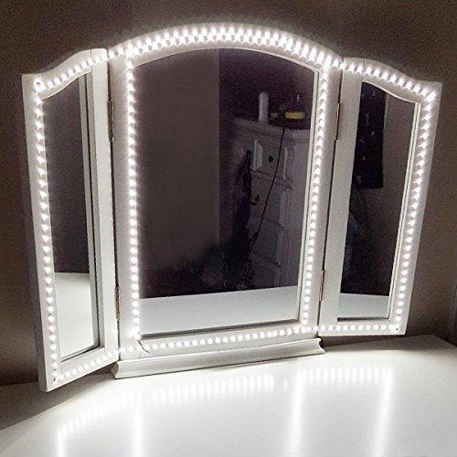 LEDMOMO LED Schminkspiegel Licht, Flexible Make-up Beleuchtung Streifen für Spiegel Bad Schminktisch mit Dimmer und Schalter Netzteil, Spiegel nicht enthalten EU-Stecker (Schwarz) 4M