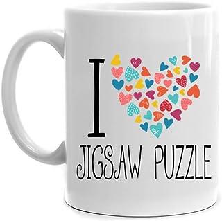 Eddany I Love Jigsaw Puzzle Colorful Hearts Mug 11 Ounces
