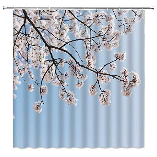 LRSJD Duschvorhang-Set mit Kirschblütenmuster, naturfarben, rosa Blütenblätter, brauner Ast, Frühlingsblumenmotiv, 183 x 183 cm, mit Haken, blau & rosa