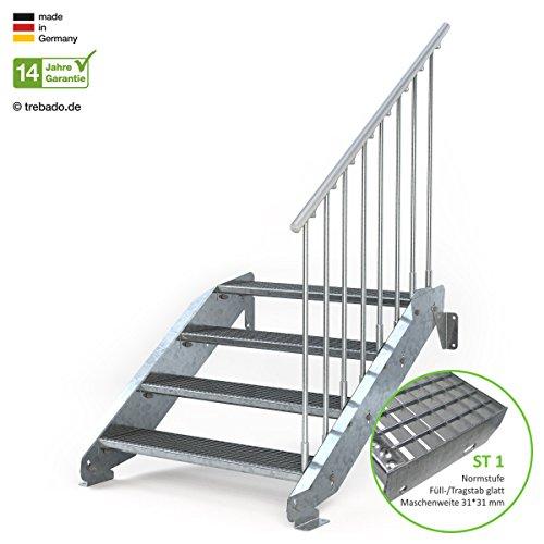 Außentreppe 4 Stufen 100 cm Laufbreite – einseitiges Geländer rechts - Anstellhöhe variabel von 62 cm bis 84 cm - Gitterroststufe ST1 - feuerverzinkte Stahltreppe mit 1000 mm Stufenlänge als montagefertiger Bausatz