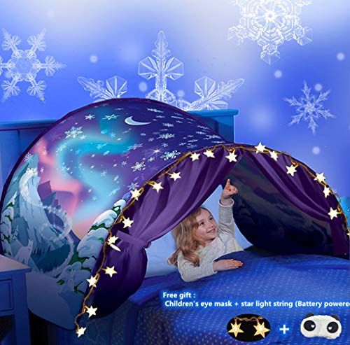 Bed Tents for Girls Boys,Pop Up Tents for Kids with Light,Kids Dream Bed Tent,Sleep Tent,Children's Playrooms,Christmas Birthday Gifts (Snowflake)
