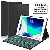Boriyuan iPad 10.2 第7世代 2019年 キーボードケース 7色 バックライト 取り外し可能 キーボード スリム レザー 二つ折り スマートカバー iPad 10.2インチ iPad Air 3 10.5インチ用 (第3世代) iPad Pro 10.5インチ用 ブラック
