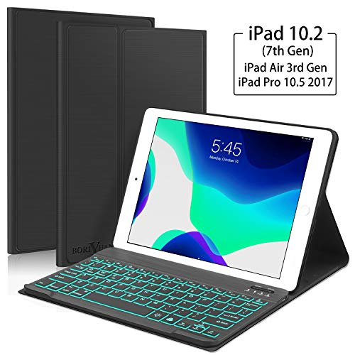 "New iPad 10.2 7th Generation 2019 Keyboard Case, Boriyuan 7 Colors Backlit Detachable Keyboard Slim Leather Folio Smart Cover for iPad 10.2 Inch/iPad Air 3 10.5""(3rd Gen)/iPad Pro 10.5 inch – Black"