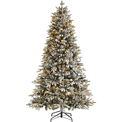 WeRChristmas Pre-Lit Slim Snow Flocked Christmas Tree with 350 Chasing Warm LED Lights, Multi-Colour, 6 feet/1.8m