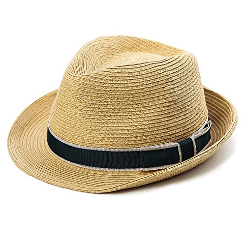 Comhats Unisex Sonnenhut Stroh Panama Fedora Strandhut Kurze Krempe beige L