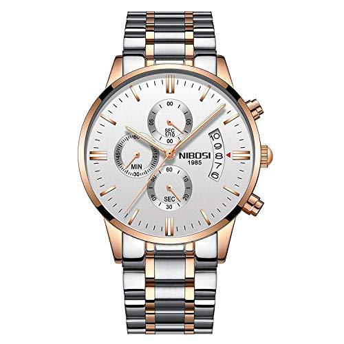Reloj de pulsera de lujo para hombre, de acero inoxidable, a