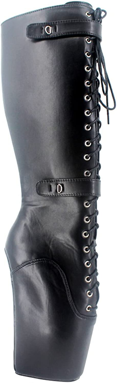 Wonderheel 7  Wedge matt Black Fetish Knee high Boots lace up Padlocks Ballet shoes
