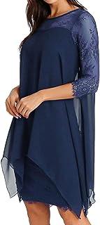 TWIFER Damen Mode Chiffon Kleid Einfarbig Sommerkleid Spitze Kleider Übergröße S 5XL