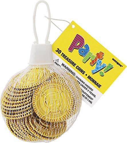 Unique Party 74030 - Monete del Tesoro di Plastica D'Oro Regalini per Feste, Confezione da 30