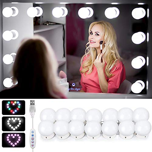 LED Spiegelleuchte,Schminktisch licht,LED Schminklicht für Spiegel,14 LED Spiegel Lichter Set für Kosmetikspiegel, Spiegellampe, Make-up Lampe hollywood licht