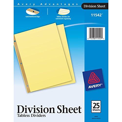 AVERY Division Sheet Dividers, 25-Divider Set (11542),Buff, Each