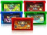 Lingqx 5 piezas Pokemon Esmeralda Rubí Zafiro Rojo Hoja Verde Gameboy Juego Cartucho Reproducción Versión para GBA GBM GBA SP NDS (NDS versión)