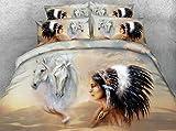 LifeisPerfect JF-248 Impresión Digital HD de Indios Americanos y White Horse Bed Set 4pcs