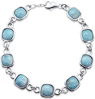 Princess Kylie Round Natural Larimar Cubic Zirconia Pendant Sterling Silver
