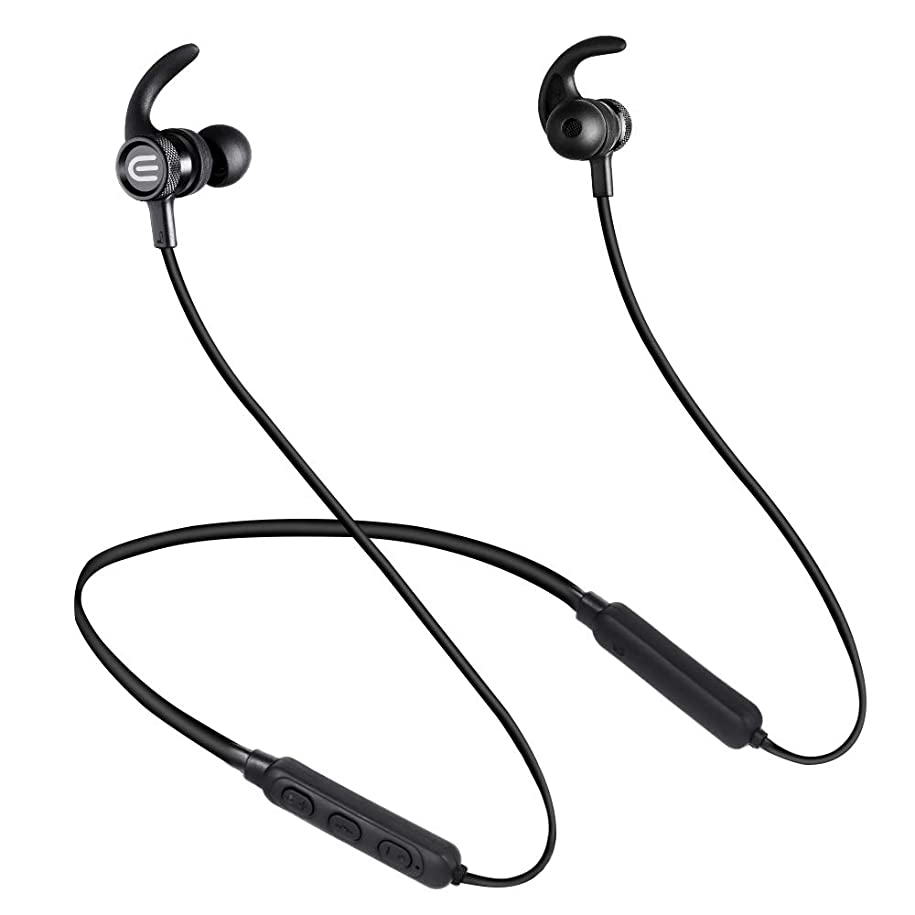 杭自動的に主張「2019最新スポーツイヤホン」 Bluetooth4.2イヤホン 長時間再生IPX7完全防水 ワイヤレスイヤホン ネックバンド型イヤホン 高音質 重低音 ステレオイヤフォン 騒音低減 ハンズフリー通話 ブルートゥースイヤホン 首掛けタイプ カナル型 日本語説明書付き 軽量 Bluetooth ヘッドホン(ブラック)