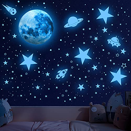 Glowing Stars for Ceiling, 1008 PCS Glow in The Dark Stars,Space Wall Decals Solar System Galaxy...