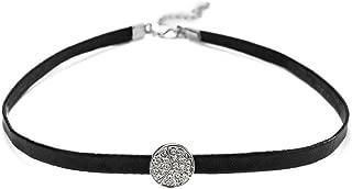 "KesaPlan Peace-Loving"" Choker Leather Cord Necklace.Crystal from Swarovski"