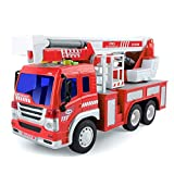 Gizmovine Fire Truck Toy Friction Power with Lights and Sounds, Extending Rescue Rotating Ladder...