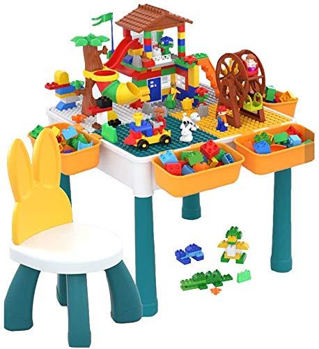 JIAFENG 5-en-1 Mesa Multifuncional para los niños, el mostrador de Actividades compatibles con los Bloques, la Tabla Guardar Juguetes, Incluyendo sillas y Aumento de la Altura tuberías,Silla Mesa.