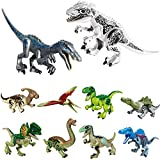 10pcs Dinos Toy, Included 2 Large Size Buildable Dinosaur Building Block Figures with Movable Jaws,Indominus Rex, Baryonyx