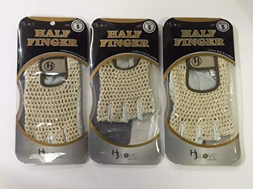 HJ Half Finger Golf Glove, Mens Small, fits on Left Hand, 3-Gloves,