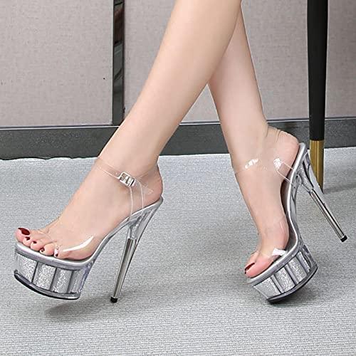 JUSTMAE Tacones Altos 15cm Sandalias de Plataforma Discoteca Sexy Tubo de Acero Zapatos de Baile para Mujeres Stilettos Pole Dance