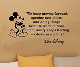 Walt Disney Mickey Mouse We Keep Moving Forward Wall Quote Vinyl Wall Art Decal Sticker Word Saying Vinyl Decal 16
