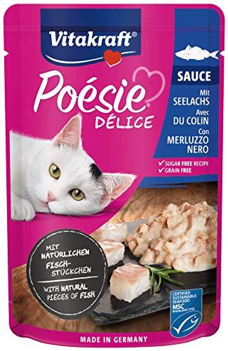 Vitakraft - Poésie Délice Sauce, alimento húmedo para Gatos con trozos de Carne en Salsa, Variedad Abadejo- 85 g