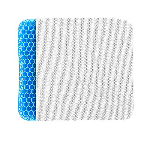 POVAST Gel Seat Cushion, Seating Pad Double Layer Honeycomb Cushion for Car Driver Home Office Chair Wheel Chair Truck Butt Hip Support Sitting Pillow, Tailbone Sciatic Nerve Spine Pain Relief (Blue)