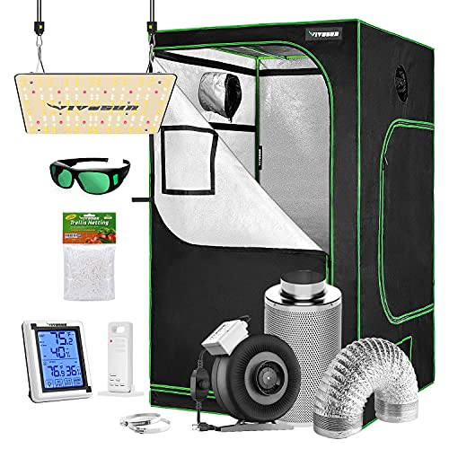 """VIVOSUN Grow Tent Complete Kit, 48""""x48""""x80"""" Growing Tent with VS1000 Led Grow Light 6 Inch 440 CFM Inline Fan Carbon Filter and 8ft Ducting Combo"""