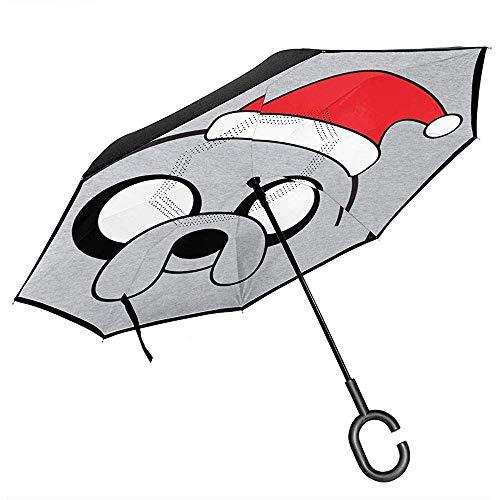 Jake Adventure Hat Zeit umgedrehten Regenschirm für Auto Reverse Folding Upside Down C-förmige Hände Leicht Winddicht