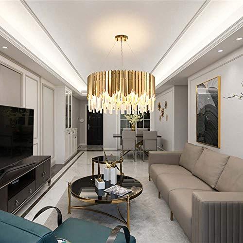 CHENJUNAMZ Lámpara moderna de cristal redonda posmoderna lámpara de araña de lujo dorada de 50 x 32 cm, 60 x 32 cm (color: luz blanca, tamaño: 60 x 32 cm)
