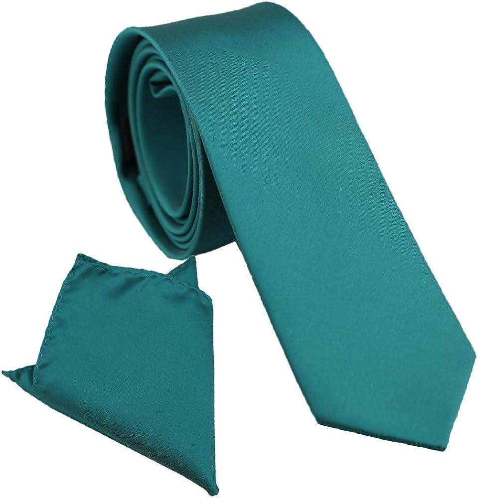 Coachella Ties Plain Teal Green Solid Color Necktie+Pocket Square (6cm Tie+Pocket Square)