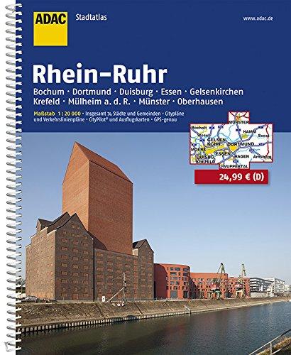 ADAC Stadtatlas Rhein-Ruhr: Bochum. Dortmund. Duisburg. Essen. Gelsenkirchen. Krefeld. Mülheim a. d. .R.. Münster. Oberhausen. Insgesamt 74 Städte und Gemeinden (ADAC Stadtatlanten 1:20.000)