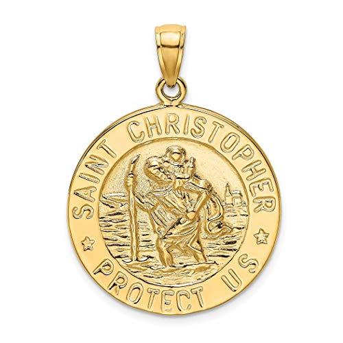 14 Karat Gold Heiliger Christophorus Münze Hochglanz-Charm-Anhänger Halskette Schmuck Geschenke für Frauen