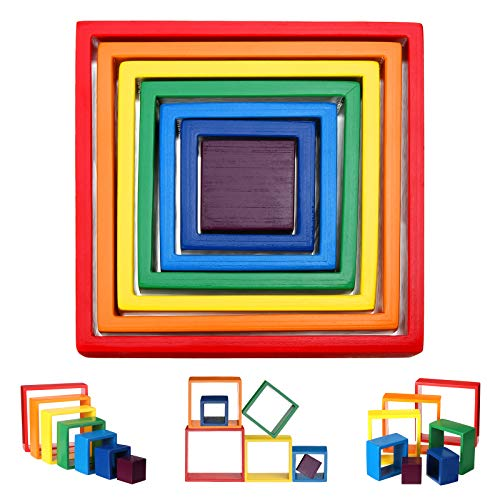 king do way Apilador de Arco de Madera Geometría Bloques de Construcción Juguete de Aprendizaje Preescolar Puzzle Educativo para Niños Niño Niña
