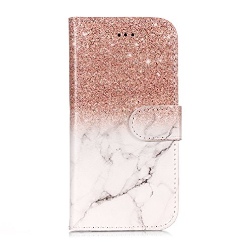 YKTO Funda para Huawei P8 Lite 2015 5.0 Pulgadas Caso Protectora de Protección Híbrida Delgada y Premium Cárcasa Lujosa PU Leather Brilla Brillante Case Estilo Billetera Mármol Caja