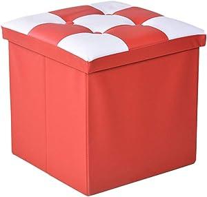Yao rack Speicher-Stableder Multi-Function Falten Ottoman Foothocker Lederspeicher Box 38×38×38Cm,Red